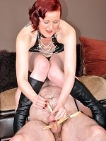 Miss Kitty cant live without to tease and agony her slaves. CBT and...