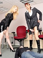 The male employee has attempted to rise above his station. It is...