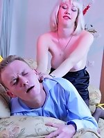 Platinum blonde gets drunk and bold enough to strapon fuck her...