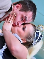 French maid gets her strapon secret uncovered to be used on a...