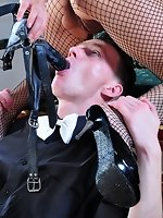 Hot strapon mistress fills the mouth and bung hole of her pathetic...