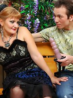 Strap-on armed chick flirting with a guy ready to poke and impale...