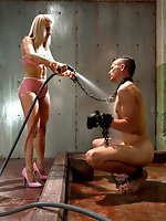 Smoking hot blonde dominatrix uses dog boy for her own sexual...
