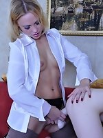 Angry blonde rams a huge strapon into her pussy guy before kicking...