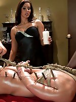 Two sexy dominatrices use a piece of slaveboy meat to get off then...