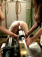 Two smoking hot latex clad evil nurses use a piece of man meat to...