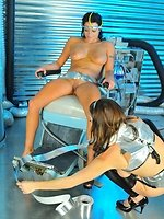 sexy big boob lesbians in SciFi BDSM sex action