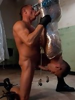 Tyler Saint ties up and fucks Shane Frost in the slaughter house