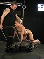 Asymmetrical rope bondage starts the day, leaving Devons pussy open...