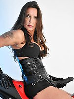 Beautiful Jane armed with strapon dildo is posing and riding speed...