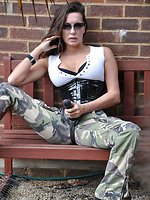 Military Jane demonstrating her powerful strap on