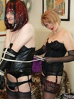 Horny Tgirl tied up so there is no escape from monster strapon cock