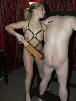 Toms ass and legs are spanked hard with heavy cane, but his little...