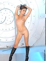 asian teen babe Michelle stripping and posing in long leather boots...