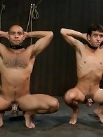 Josh West fucks two boys in bondage and cums all over them during a...