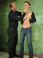 aila is blindfolded and hanged up in a perfect position to accept...