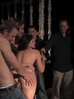 Bobbi Starr is locked in a cage and fucked by drunk and horny bar...