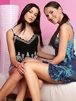 Ravishing vixens bang slick slits in torrid strapon romp