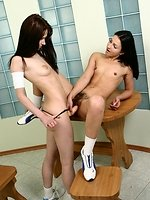 Blazing teen vixens bang furry twats in torrid strapon romp