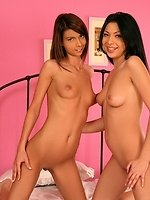 Hot brunettes dildo and strapon fuck shaved twats in bed