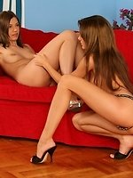 Brunette vixens dildo and strapon fuck bald twats on couch