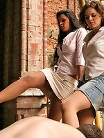 Two amazing girls dominate two boys in an old factory