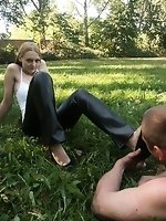 Goddess Alexis humilates man in park