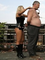 Goddesses Dani and Angie torment two men on roof terrace