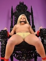 Breasty blond bound up in the throne room
