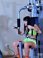 Sporty brunette involves a shocked dude into a strapon ass-to-mouth...